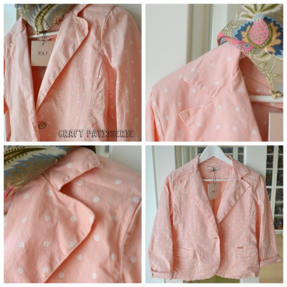 giacca cipria pois bianchi
