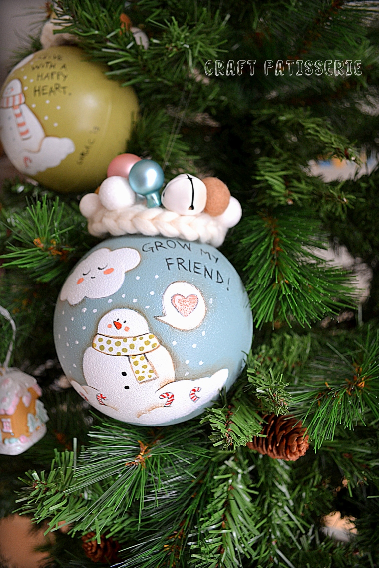 "pale blue Cristmas ball ""Grow my friend"""