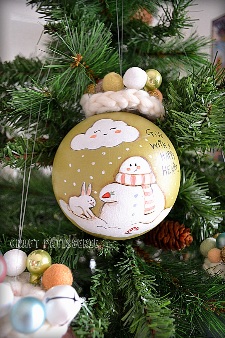 "pale green Christmas ball ""Give with a happy Heart!"""
