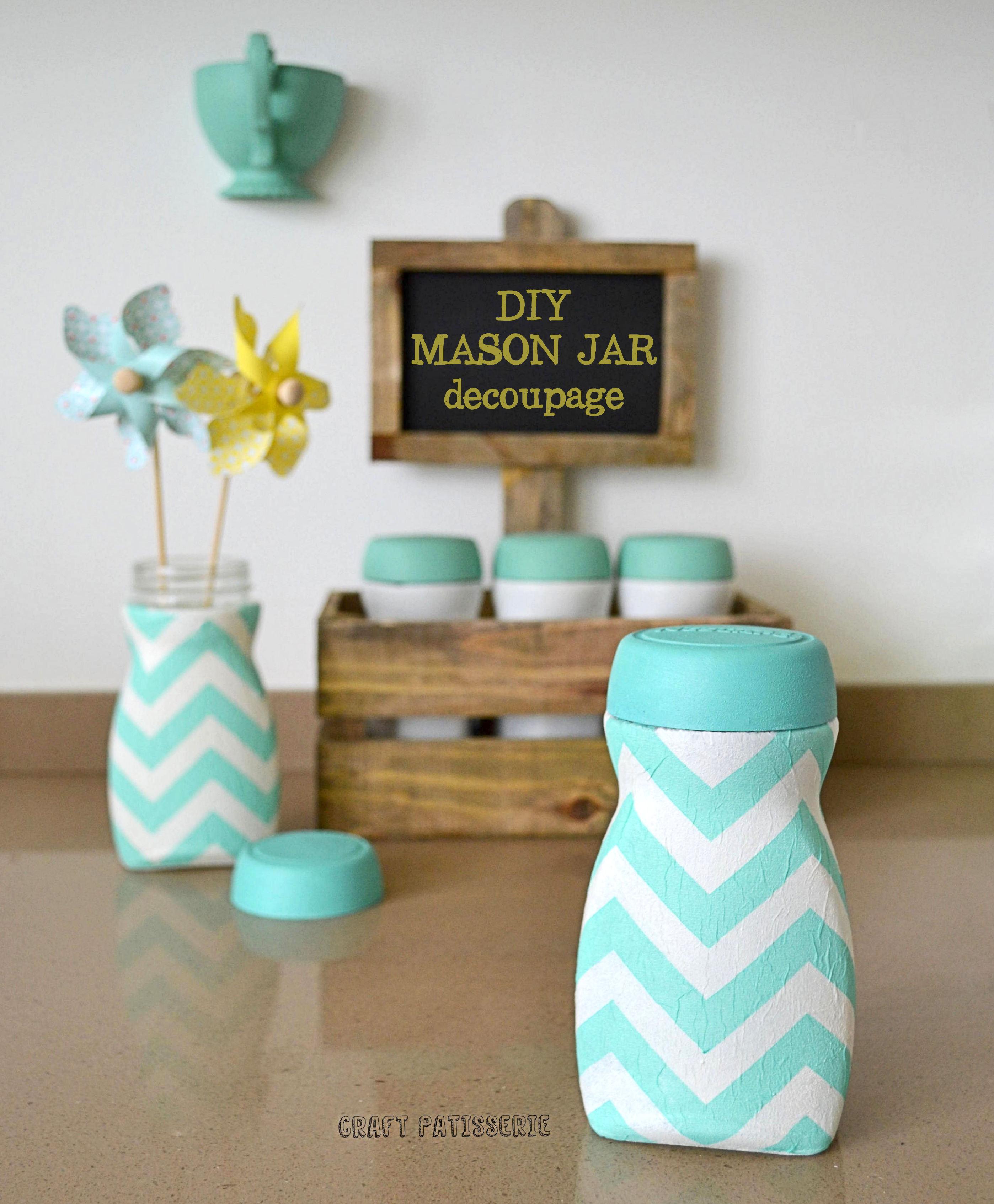 DIY decoupage chevron mason jar - un'altra idea di recupero creativo semplice e veloce
