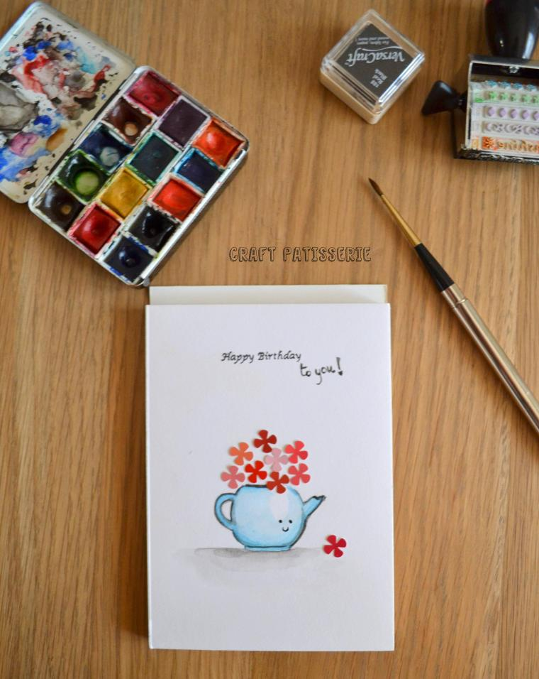 Watercolor and mixed media happy birthday card tutorial