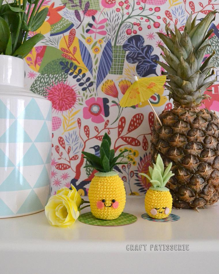"amigurumi pineapple ""ananassoli"" handmade cuteness for summer"