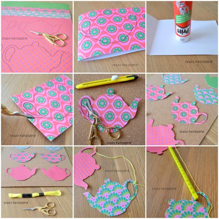 DIY tutorial ghirlanda per le feste con le teiere di carta CraftPatisserie